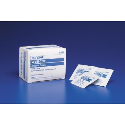 Alcohol Prep Pad Webcol Isopropyl Alcohol, 70% Individual Packet Large Sterile - One Box of 200 Count