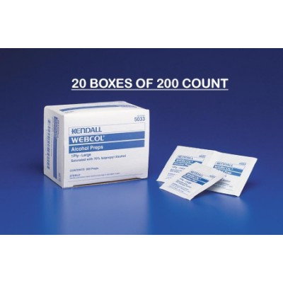 Alcohol Prep Pad Webcol Isopropyl Alcohol, 70% Individual Packet Large Sterile - 20 boxes of 200 count