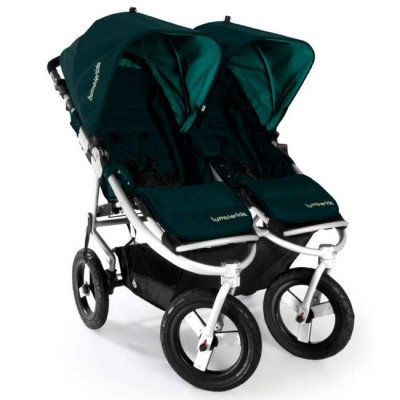 Bumbleride Indie Twin Jogging Stroller in Lotus With Blue Canopies