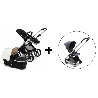Bugaboo Fox Stroller with Bugaboo Ant Stroller - Aluminum/Black-Fresh White/Aluminum Base/Steel Blue-Steel Blue