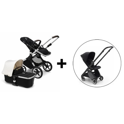 Bugaboo Fox Stroller with Bugaboo Ant Stroller - Aluminum/Black-Fresh White/Black Base/Black