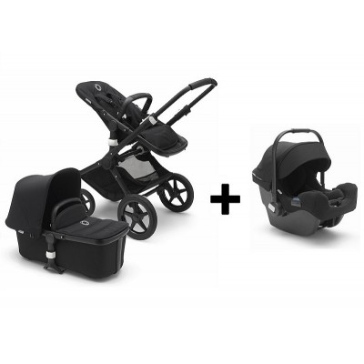Bugaboo Fox Stoller with Turtle Infant Car Seat - Black/Black/Black