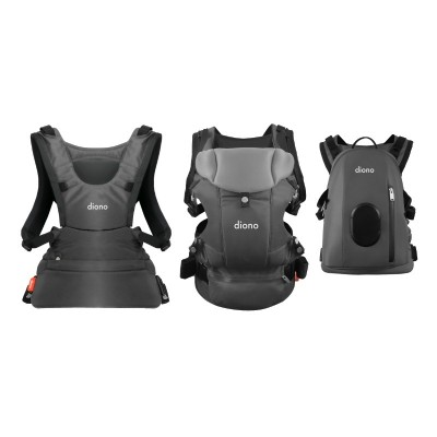 Diono Carus Complete Front and Back Carrier 4 in 1 with backpack - Gray Light