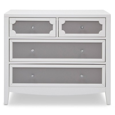 Hollywood 3-in-1 Crib and 4 Drawer Chest Dresser with Changing Top - Antique White/Grey/White Ambiance