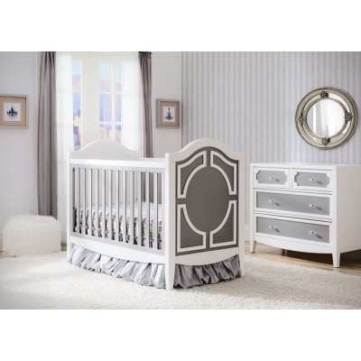 Hollywood 3-in-1 Crib and 4 Drawer Chest Dresser with Changing Top - Antique White/Grey/Bianca