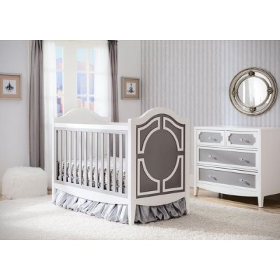 Hollywood 3-in-1 Crib and 4 Drawer Chest Dresser with Changing Top - Antique White/Grey/Chocolate