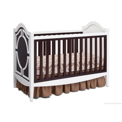 Hollywood 3-in-1 Crib and 4 Drawer Chest Dresser with Changing Top - White/Dark Chocolate/Serta Grey
