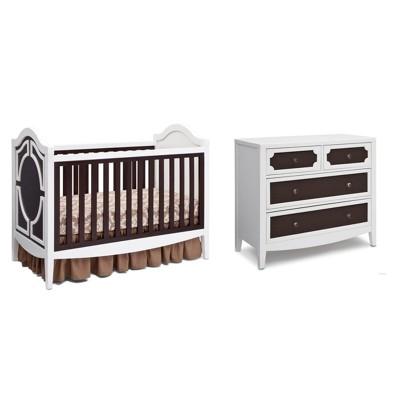 Hollywood 3-in-1 Crib and 4 Drawer Chest Dresser with Changing Top - White/Dark Chocolate/Charcoal
