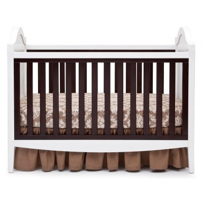 Hollywood 3-in-1 Crib and 4 Drawer Chest Dresser with Changing Top - White/Dark Chocolate/White Ambiance