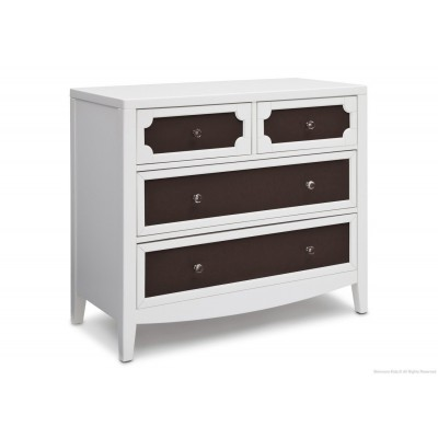 Hollywood 3-in-1 Crib and 4 Drawer Chest Dresser with Changing Top - White/Dark Chocolate/Serta Bianca