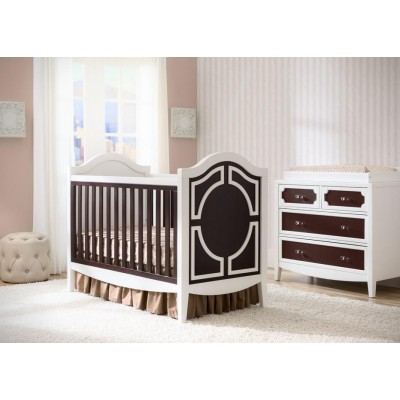 Hollywood 3-in-1 Crib and 4 Drawer Chest Dresser with Changing Top - White/Dark Chocolate/Espresso Truffle