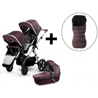 Silver Cross Wave Double Stroller and FREE Premium Footmuff - Claret