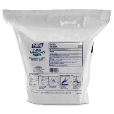 Sanitizing Skin Wipe Purell Refill Pouch BZK (Benzalkonium Chloride) Alcohol Scent 1,200 Count
