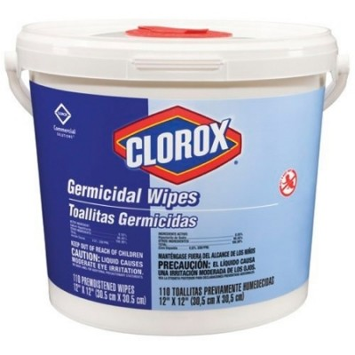 Surface Disinfectant Cleaner Clorox Healthcare Bleach Germicidal Premoistened Germicidal Wipe 110 Count NonSterile Pail Disposable Chlorine Scent