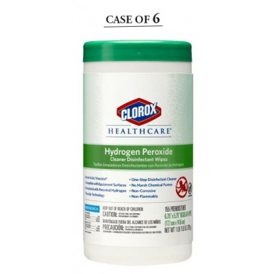Surface Disinfectant Cleaner Clorox Healthcare Premoistened Germicidal Wipe 155 Count NonSterile Canister Disposable Unscented - Case of 6