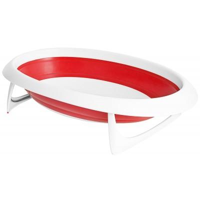 Boon NAKED 2-Position Collapsible Baby Bathtub - Red & White