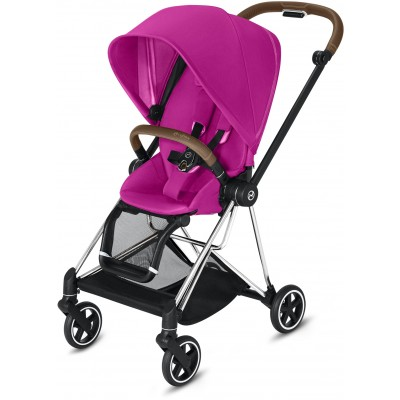Cybex Mios 2 Travel System Chrome/Brown Frame + Fancy Pink Seat