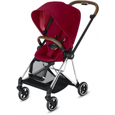 Cybex Mios 2 Travel System Chrome/Brown Frame + True Red Seat