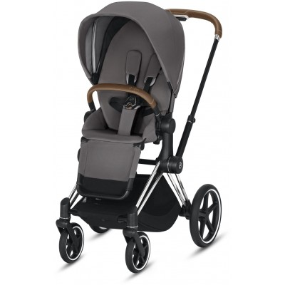 Cybex Priam 3 (3-In-1) Travel Syestem Chrome/Brown frame + Manhattan Grey seat