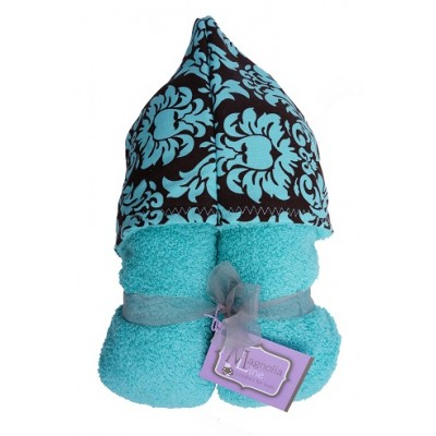 Magnolia Line Hooded Towel Aqua Terry - Marina Damask Hood