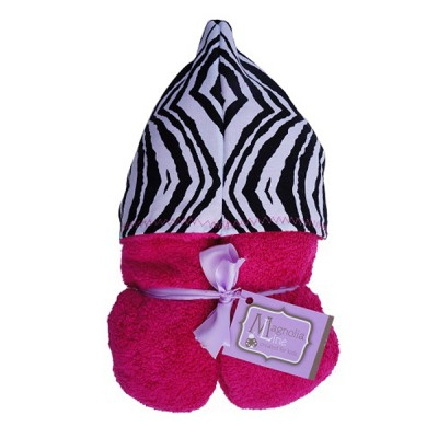 Magnolia Line Hooded Towel Pink Terry - Zebra Hood