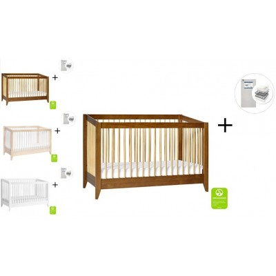Babyletto Sprout 4-in-1 Convertible Crib, Toddler Bed Conversion Kit with Start Super Firm Mattress
