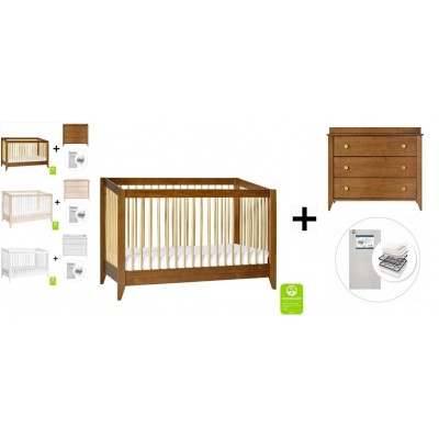 Babyletto Sprout 4-in-1 Convertible Crib, Toddler Bed Conversion Kit, 3-Drawer Changer Dresser with Start Super Firm Mattress