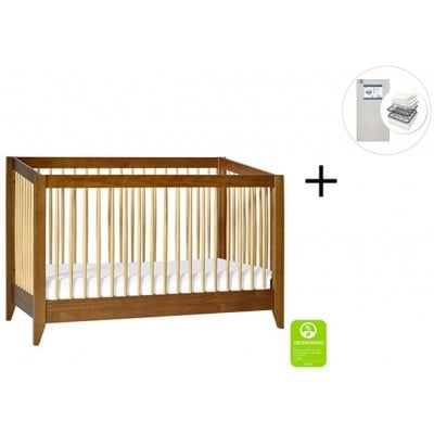 Babyletto Sprout 4-in-1 Convertible Crib, Toddler Bed Conversion Kit with Start Super Firm Mattress in Chestnut/Natural