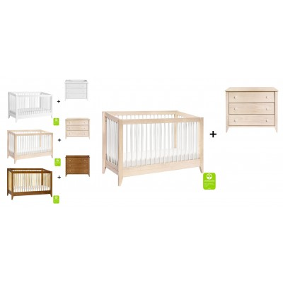 Babyletto Sprout 4-in-1 Convertible Crib, Toddler Bed Conversion Kit with 3-Drawer Changer Dresser
