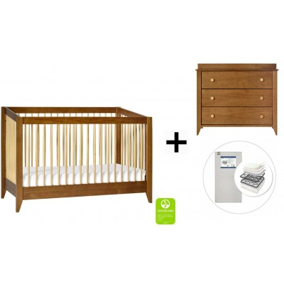 Babyletto Sprout 4-in-1 Convertible Crib, Toddler Bed Conversion Kit, 3-Drawer Changer Dresser with Start Super Firm Mattress in Chestnut/Natural