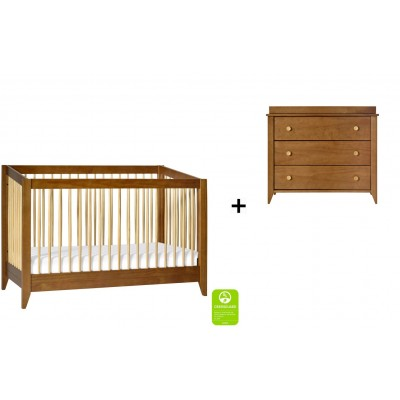 Babyletto Sprout 4-in-1 Convertible Crib, Toddler Bed Conversion Kit with 3-Drawer Changer Dresser in Chestnut/Natural