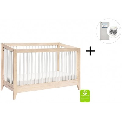 Babyletto Sprout 4-in-1 Convertible Crib, Toddler Bed Conversion Kit with Start Super Firm Mattress in Natural/White