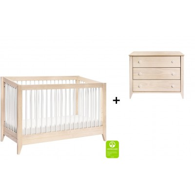 Babyletto Sprout 4-in-1 Convertible Crib, Toddler Bed Conversion Kit with 3-Drawer Changer Dresser in Natural/White