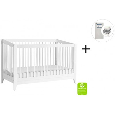 Babyletto Sprout 4-in-1 Convertible Crib, Toddler Bed Conversion Kit with Start Super Firm Mattress in White finish
