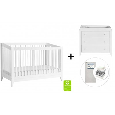 Babyletto Sprout 4-in-1 Convertible Crib, Toddler Bed Conversion Kit, 3-Drawer Changer Dresser with Start Super Firm Mattress in White finish