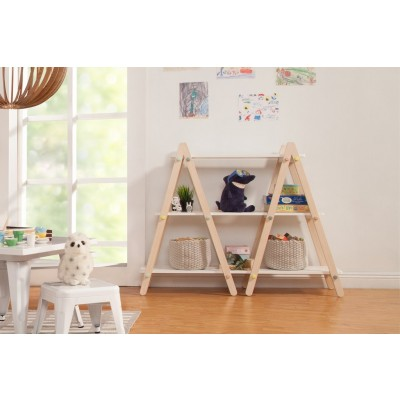 Babyletto Dottie Bookcase In White and Washed Natural Finish
