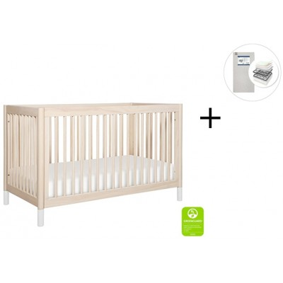 Babyletto Gelato 4-in-1 Convertible Crib, Toddler Conversion Kit with Start Super Firm Mattress - Washed Natural, W Feet
