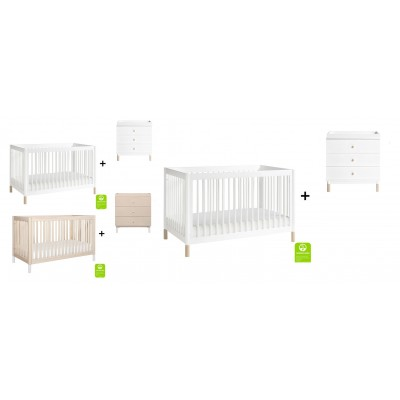 Babyletto Gelato 4-in-1 Convertible Crib, Toddler Conversion Kit with 3-Drawer Changer Dresser and Removable Changing Tray