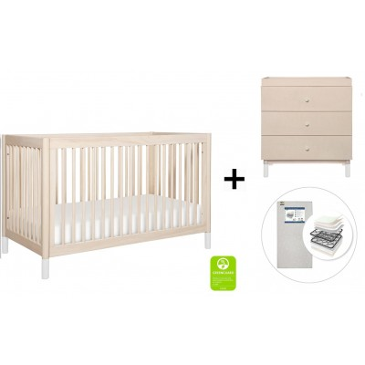 Babyletto Gelato 4-in-1 Convertible Crib, Toddler Conversion Kit, 3-Drawer Changer Dresser and Removable Changing Tray with Start Super Firm Mattress - Washed Natural, W Feet