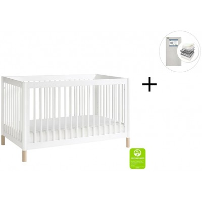 Babyletto Gelato 4-in-1 Convertible Crib, Toddler Conversion Kit with Start Super Firm Mattress - White, NX Feet