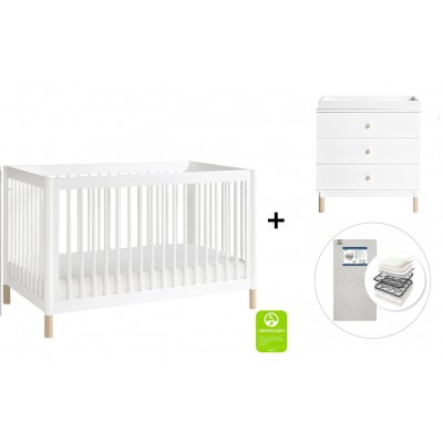Babyletto Gelato 4-in-1 Convertible Crib, Toddler Conversion Kit, 3-Drawer Changer Dresser and Removable Changing Tray with Start Super Firm Mattress - White, NX Feet