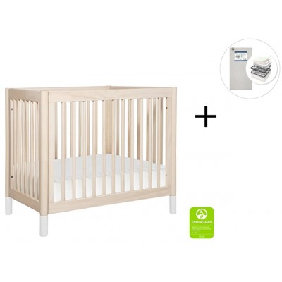 Babyletto Gelato 2-in 1 Mini Crib and Twin bed with Start Super Firm Mattress - Washed Natural/White Feet
