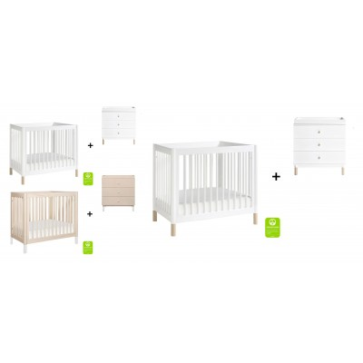 Babyletto Gelato 2-in 1 Mini Crib and Twin bed with 3-Drawer Changer Dresser and Removable Changing Tray