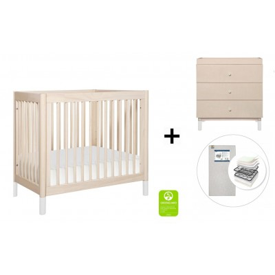 Babyletto Gelato 2-in 1 Mini Crib and Twin bed, 3-Drawer Changer Dresser and Removable Changing Tray with Start Super Firm Mattress - Washed Natural/White Feet