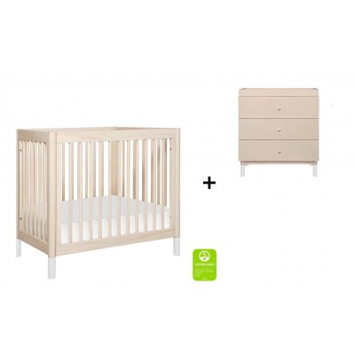 Babyletto Gelato 2-in 1 Mini Crib and Twin bed with 3-Drawer Changer Dresser and Removable Changing Tray - Washed Natural/White Feet