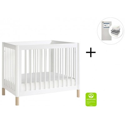 Babyletto Gelato 2-in 1 Mini Crib and Twin bed with Start Super Firm Mattress - White/Washed Natural Feet