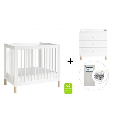 Babyletto Gelato 2-in 1 Mini Crib and Twin bed, 3-Drawer Changer Dresser and Removable Changing Tray with Start Super Firm Mattress - White/Washed Natural Feet