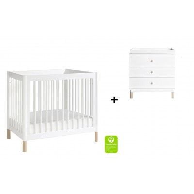 Babyletto Gelato 2-in 1 Mini Crib and Twin bed with 3-Drawer Changer Dresser and Removable Changing Tray - White/Washed Natural Feet