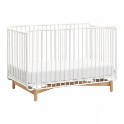Babyletto Bixby Metal Crib with Toddler Bed Conversion Kit in Warm White/Natural Beech
