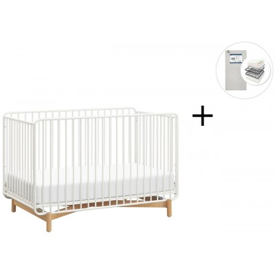 Babyletto Bixby Metal Crib, Toddler Bed Conversion Kit with Start Super Firm Mattress - Warm White/Natural Beech
